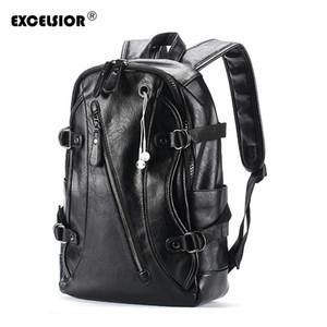 EXCELSIOR 2018 Hot Sale Men's Fashionable Leather Backpack Vintage School Bags Men's Travel Bag Casual Computer Backpack G2050