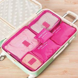 Bolsas de almacenamiento 6pcs / 1set Bolsa de almacenamiento impermeable para viajes Ropa Ropa interior Sujetador Embalaje Cubo Equipaje Organizador Armario Divisor Contenedor