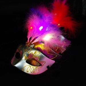 Lindo Lovely Mini LED Feather Mask Sexy Decoración de Halloween Venetian Masquerade Party Flower Beads Princesa Lady Women Girl Kid Gift Favors