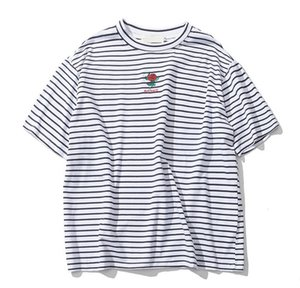 Rose Embroidery Striped Mens T Shirt Short Sleeve Summer Hi-Street Oversized Hip Hop Tshirt Cotton Tee Shirts 2 Colors