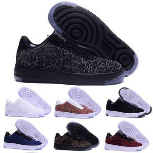 Nike air force 1 one flyknit Dunk 2017 nuevos hombres del estilo Mujeres un alto amante bajo Skate Shoes 1 One knit Eur tamaño 40-45 malla