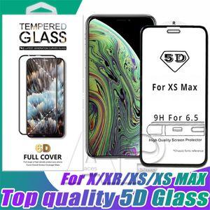 Un protector de pantalla de calidad 5D curvo de vidrio templado para Iphone 11 XR XS MAX X 8 Plus completo 9H película de la cubierta con el paquete