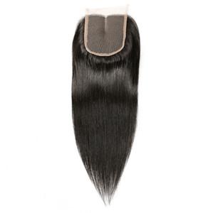 레이스 클로저 4x4 스트레이트 인간의 머리 브라질 레미 헤어 표백 매듭