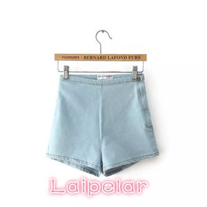 Summer 2018 Vintage Cotton Side Zipper Elastic High Waist Shorts Women Blue Jeans Denim Shorts for Womens sexy Mini