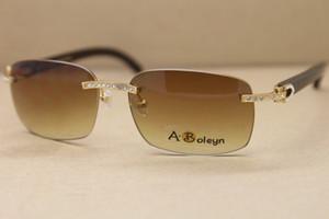 Frete grátis Hot T8200497 Big Diamante Óculos Homem Preto chifre de búfalo Glasses Frame Size: 57-18-140mm Pilot óculos de sol UV400 Driving