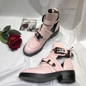 Rastro de estrella del tobillo botas para mujer de tacón alto de la lona del monograma de arranque tacón grueso Martin botas de cuero del diseñador real Ejército Botín Zapatos