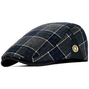 Alta Calidad Retro Boinas Adultas Hombres de Lana Plaid Cabbie Flatcap Sombreros para Mujeres Tapas de Newsboy envío gratis