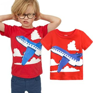 Kids Boys T-shirts Short Sleeve Boys T Shirt Tops Summer Kids T Shirts Aircraft Baby Clothes Birthday Gift boy Red Top