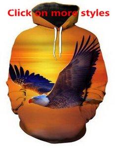 American Flag Animal Eagle 3D Divertido Nueva Moda Hombres / Mujeres Sudaderas Con Capucha Suéter Sudadera Chaqueta Pullover Top W6