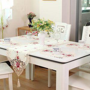Fiesta de la boda de alta calidad bordado Tabla tela del cordón Cutwork flor de Rose Runner mantel Decoración 4 Tamaño