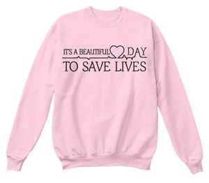 """Vente en gros - """"C'est un beau jour pour sauver des vies"""" Greys Anatomie Sweat Femme à manches longues Shirt Tumblr Collège Crewneck Hoodies Rose"""