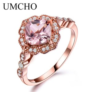 UMCHO Silver 925 Nano Morganite Rings For Women Engagement Party Rose Gold Color Ring New Fashion Promise Rings Fine Jewelry Y18102510