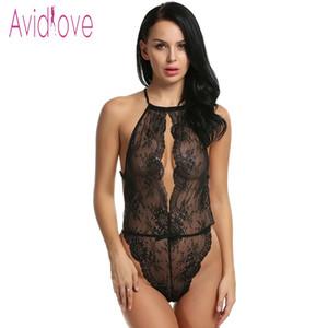 Lencería de cuero de encaje floral Sexy Teddies Body Mujeres Erotic Hot Sex Body Transparente Porno Exótico Traje Ropa Interior S923