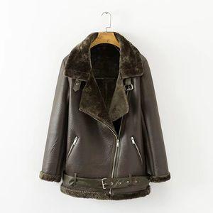 Fitaylor Chaqueta de cuero de cordero de imitación de invierno Mujer Cuero de imitación Corderos Cuello de piel de lana Chaqueta de gamuza Abrigos Mujer Abrigos gruesos de abrigo