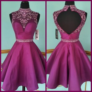 Short Purple Crystal Sash Pageant Evening Birthday Girl's Ball Gown Backless Bridal Special Occasion Prom Bridesmaid Party Dress 17LF466