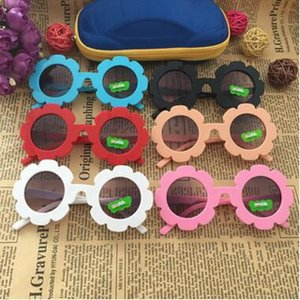 Menina óculos de sol criança redondo flor sol óculos girassol girassol meninos meninos meninos meninas estudante criança óculos de sol 6 cores