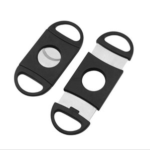 Pocket Plastic Stainless Steel Double Blades Cigar Cutter Knife Scissors Tobacco Black New