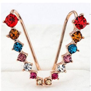 CZ Алмазный клип манжеты серьги Белый / розовое золото покрытием ковш крюк серьги ювелирные изделия для женщин серьги ZL 60 пар