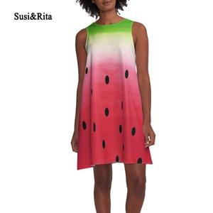 SusiRita 3D печати летнее платье повседневная О-образным вырезом без рукавов свободные сарафан Женщины 2017 Sexy Beach Dresses взлетно-посадочной полосы Vestidos