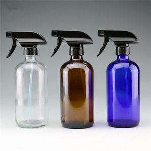 LEERE bernsteinfarbene Glassprayflaschen Boston Round Heavy Duty Glasverpackungsflasche BLUE TRANSPARENT mit Nebelsprüher