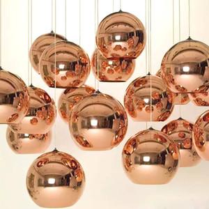 전체 집합 LED 펜 던 트 램프 구리 슬라이 버 그늘 거울 샹들리에 빛 E27 전구 현대 크리스마스 샹들리에 유리 공 droplight 조명