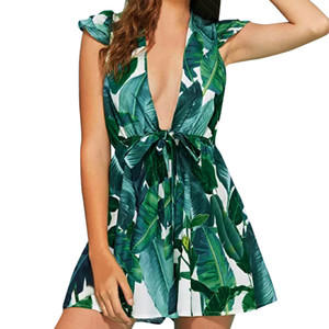 Srogem женщины Сексуальная Цветочная печать империи короткие Sleevel выше колена, мини вечернее платье корейской моды vestido Ренда