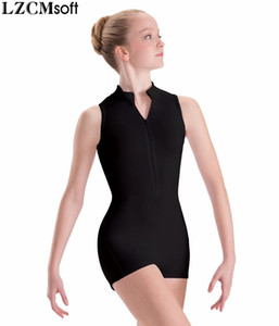 LZCMsoft Zip Front Child Mock Neck Gymnastics Unitards For Girls Spandex Nylon Black Tank Biketards Ballet Leotards For Classes