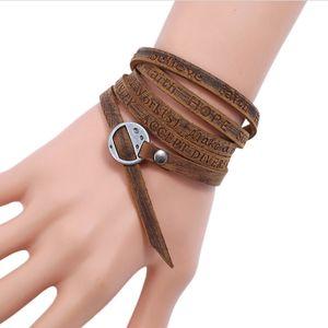 Стильный Vintage Leather Wrap браслет с гравировкой Персонализированные для мужчин Женщины Многослойные кожаные манжеты браслет браслеты Durable Xmas Gifts