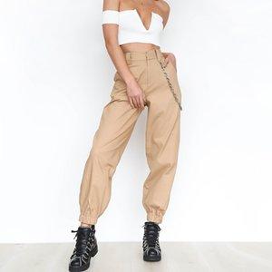 Geniş Kadınlar Pantolon Casual Pantolon Yüksek Bel Gevşek Sweatpants Weekeep Kargo Pantolon Koşucular Harem Punk Rock Hip Hop kız