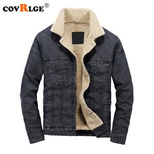 Covrlge 2018 Inverno Novos Homens Jaqueta Jeans Moda Plus Size Solto Custo Além de Veludo Espessamento Masculino Outerwear Casacos Casuais MWJ121