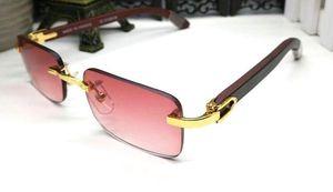 Estilos para hombre del cuerno de búfalo Lentes de madera de sol del verano 2019 de moda las gafas de sol sin montura mujeres deportivas para hombres con la caja Gafas