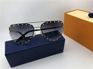Новый дизайн моды очки 0984 бескаркасных нерегулярная рамка с заклепками популярных авангардного стилем UV400 защиты верхнего качества очков