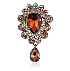 Nueva gota de agua Broche Pins Bouquet Brand Jewelry Big Red Brooch For Women Wedding Clothes Scarf Accessories