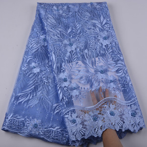 Ultimi Azzurro blu Nigeriano Francese Lacci Tessuti di alta qualità Tulle Africano Pizzo Tessuto Africano Francese Tulle Pizzo A1347