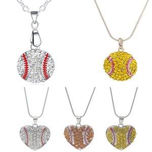 Articoli per feste Fascino con strass Collana da baseball Collana con pendente Softball Collana con cuore Love Maglione Accessori per gioielli Bomboniere per regali WX9-471