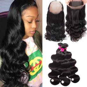 9A Cheveux Humains Brésiliens Tisse 3 Faisceaux Avec 360 Full Lace Closure Body Wave Droite 100% Non Transformés Brésiliens Péruviens Cheveux Malaisiens