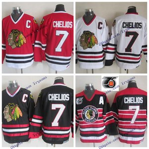Vintage Chicago Blackhawks Chris Chelios Hockey Jersey Home Red 75th Anniversary Classic # 7 Chris Chelios Stitched Hockey Shirts C Patch