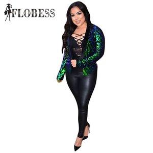 Flobess Sexy Mulheres Terno 2018 Moda Verde Lantejoula Magro Ternos Clube Terno Jaqueta de Blazers Desgaste do Desgaste