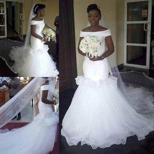 Charming Ruffle 아프리카 인어 웨딩 드레스 플러스 사이즈 Bateau 목 Tulle Tiers 중동 Arabic Country Bridal Gown Bride Dress Custom