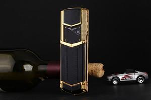 Nouveau mode débloqué téléphone mobile de luxe pour homme femme fille Dual sim carte cuir cadre en métal en acier inoxydable 8800 téléphone portable