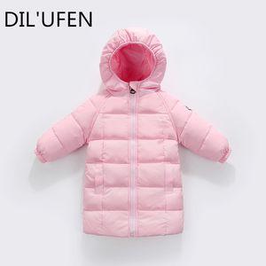 DIL'UFEN 2017 новый новорожденных девочек мальчиков зима длинные пуховики верхняя одежда пальто мода дети толстые теплая куртка