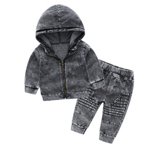 INS bébé enfants Denim Tenues 2020 nouveaux garçons automne bébé zipper denim veste à capuche + enfants 2pcs pantalons occasionnels ensembles cow-boy A4520