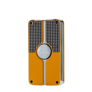 Wholesale COHIBA Black Yellow Fashion Metal Lighters 3 Flame Jet Torch Lighter Windproof Gas Cigarette Fire With Cigar Punch lighters