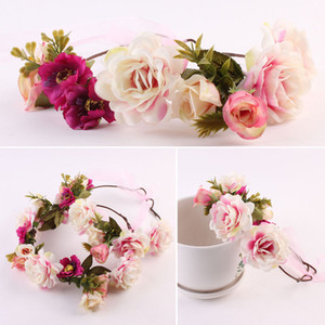 Niñas Headwear Floral Hairbands Moda Cute Mommy Kids Wreath Flores Diadema Floral Crown Hairbands Viaje Boda