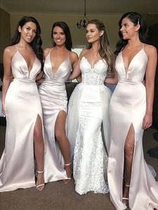 Sereia De Cetim Sexy Dama de Honra Vestidos de V Profundo Decote Em V Pescoço Fenda Criss Cruz de volta Branco marfim Boho Vestidos de Festa de Casamento Vestidos de Dama de Honra