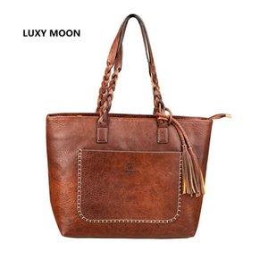 Bolsas de hombro de lujo de la borla del diseñador bolsos de cuero de la PU de la vendimia bolsos Sac A principal bolso de compras de la manera de la vendimia Dropshipping