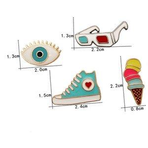 Toptan Moda Hediye Pin Renkli Karikatür Dondurma koni ayakkabı Pimleri Broş Pimleri Takı Erkekler Kadınlar için Broşlar Ücretsiz Kargo