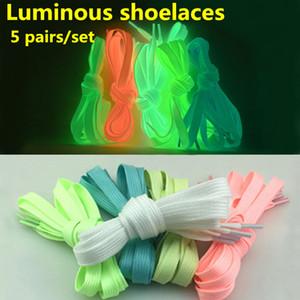 5 pares / set Fashion Luminous Shoelaces Glow In The Dark Fluorescent Shoelace (5 colores, longitud: 120 cm)
