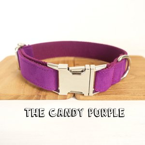 Self-Design Hundehalsband THE CANDY PURPLE Handgemachte Poly Satin und Nylon Lila 5 Größen Hundehalsband und Leine Pet Produkte