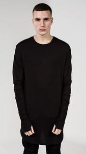 새로운 힙합 T 셔츠 남성 높은 낮은 사이드 엄지 구멍 분할 Tshirt 긴 소매 Tyga 장식이 남자 폴리 에스테르 티셔츠 승무원 목 옷 뜨거운 판매